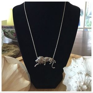 Vintage Sterling Silver Lion Necklace 18""